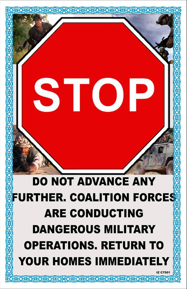 Random PSYOP leaflet - COALITION FORCES ARE CONDUCTING DANGEROUS MILITARY OPERATIONS