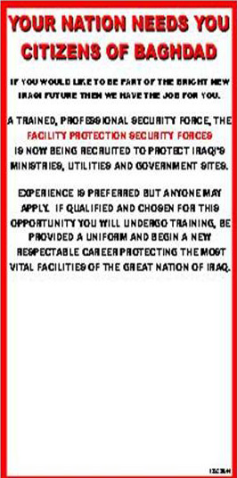 Random PSYOP leaflet - YOUR NATION NEEDS YOU CITIZENS OF BAGHDAD