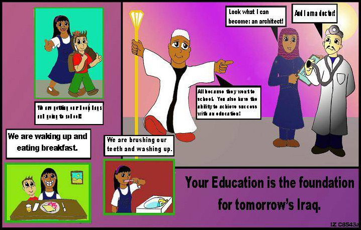 Random PSYOP leaflet - Your Education is the foundation for tomorrow's Iraq