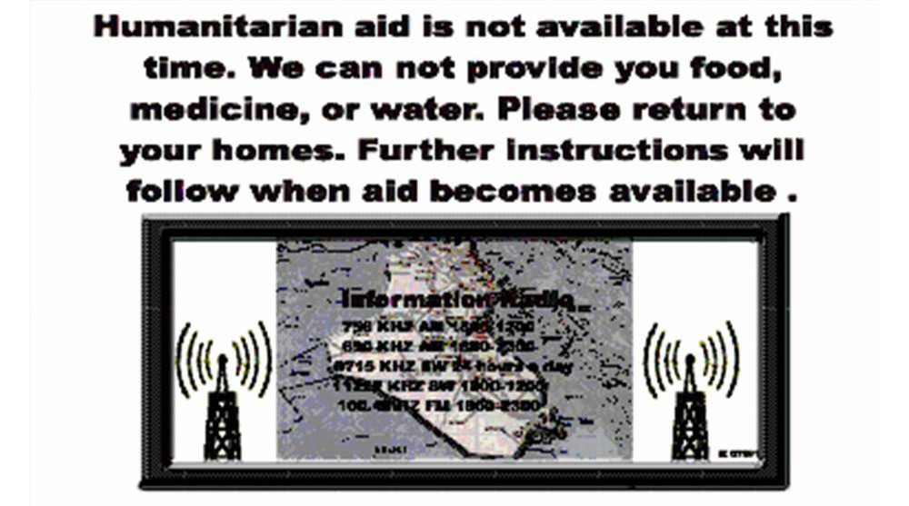 Random PSYOP leaflet - Humanitian aid is not available at this time
