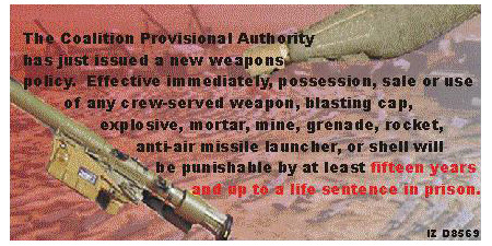 Random PSYOP leaflet - This new policy will be strictly enforced by the Iraqi Police…