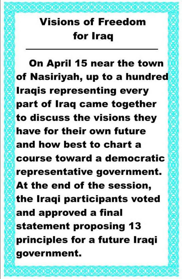 Random PSYOP leaflet - 13 points agreed to by the Future of Iraq Forum held on April 15, 2003