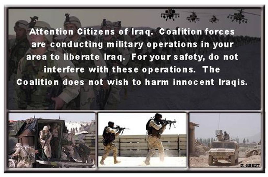 Random PSYOP leaflet - For your safety do not interfere with Coalition operations