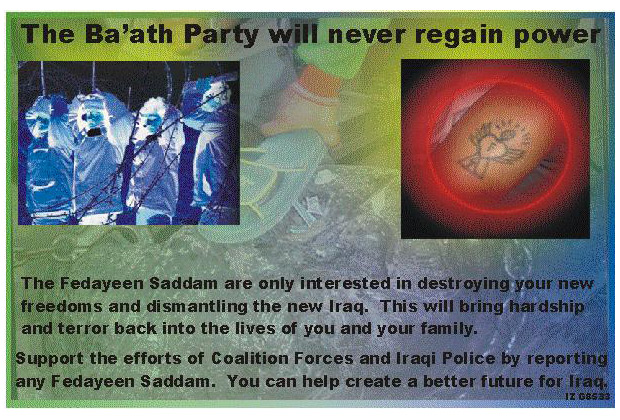 Random PSYOP leaflet - With the death of Saddam's sons Uday and Qusay, the Fedayeen Saddam network is crumbling