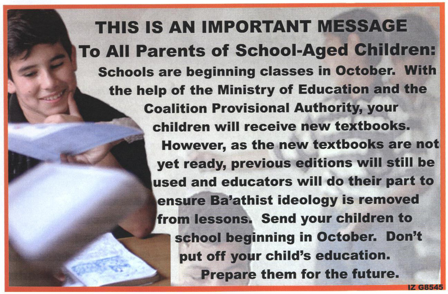 Random PSYOP leaflet - Don't allow you children to miss a single day of school