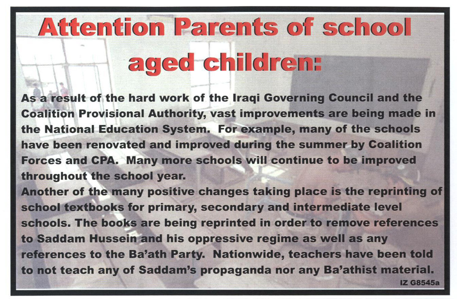 Random PSYOP leaflet - The Ministry of Education is committed to the quality of your children's education