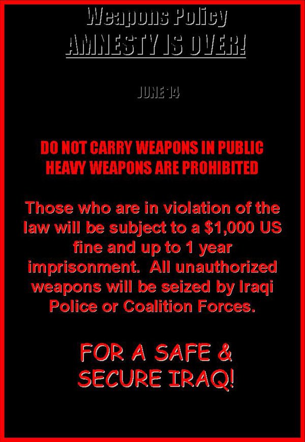 Random PSYOP leaflet - DO NOT CARRY WEAPONS IN PUBLIC. HEAVY WEAPONS ARE PROHIBITED