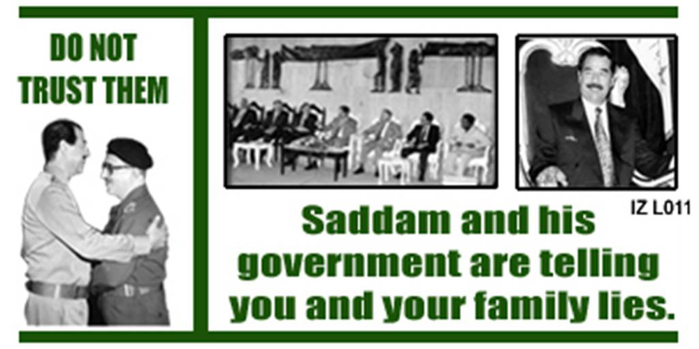 Random PSYOP leaflet - Saddam wastes your money to buy the loyalty of government officials with gifts…