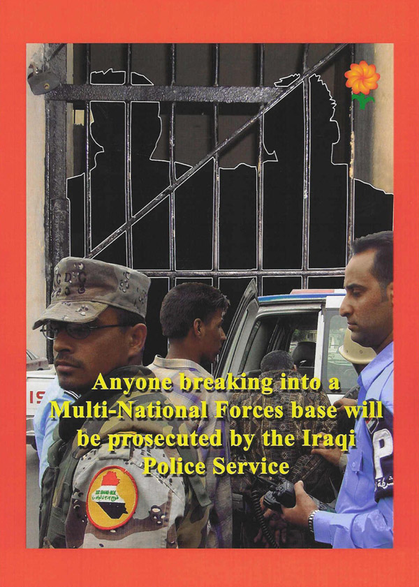 Random PSYOP leaflet - Anyone breaking into a Multi-National Forces base will be prosecuted…