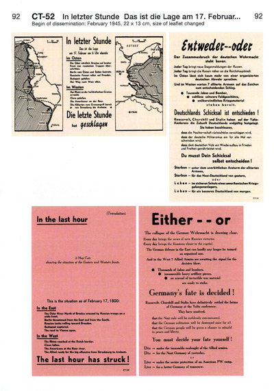 Leaflets from the U.S. Armies for German Soldiers in Western Europe, 1944-1945 by Klaus Kirchner, Verlag D+C, 2007, ISBN: 3-921295-36-x