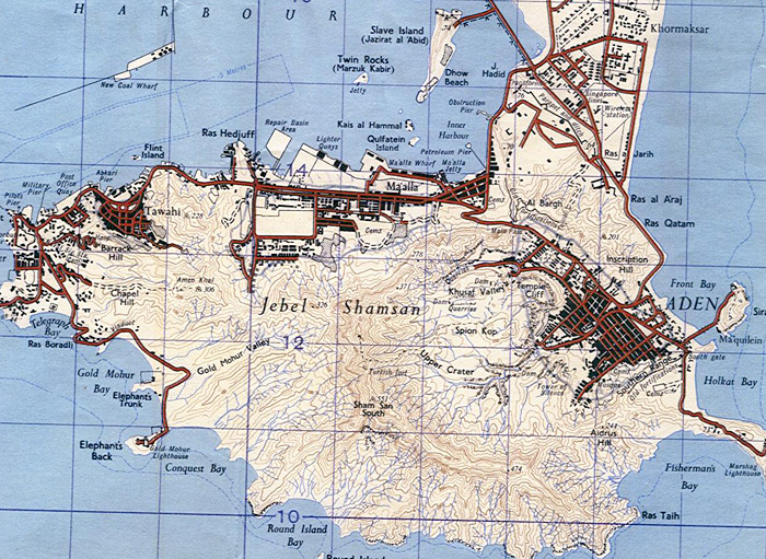 Military map of Aden