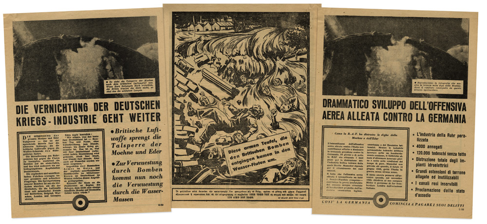 Leaflets dropped over the Balkans in Italian and German showing results of the Dambusters raid