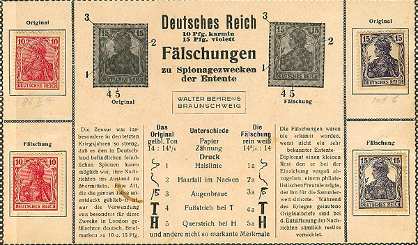 A philately dealer's advertisement postcard for the Germania forgeries
