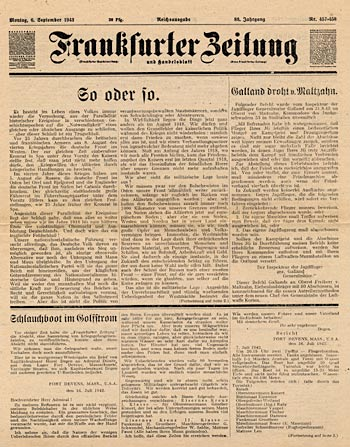 Fake Frankfurter Zeitung newspaper, Montag, 6. September 1943