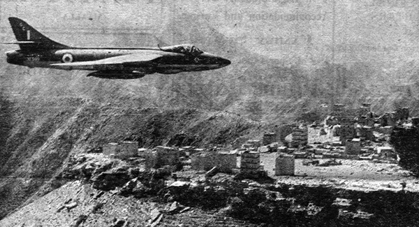 The Hawker Hunter flying over Aden