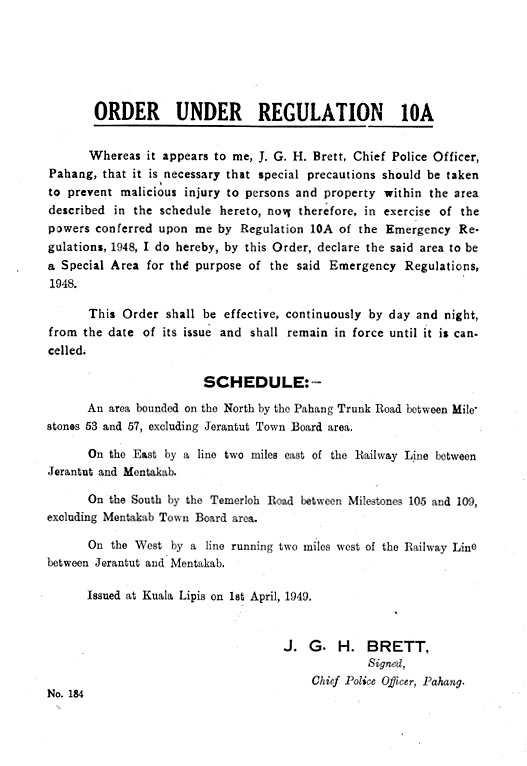 Random PSYOP leaflet - Whereas it appears to me, J. G. H. Brett, Chief Police Officer, Pahang…
