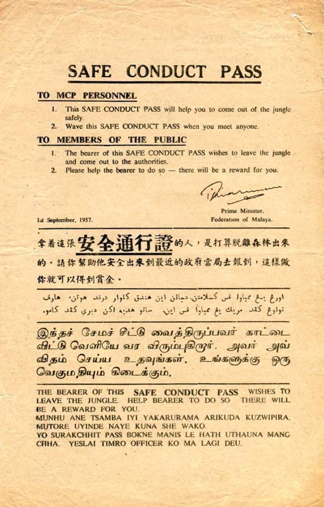 Safe Conduct Pass dated 1 September 1957 (OBVERSE)