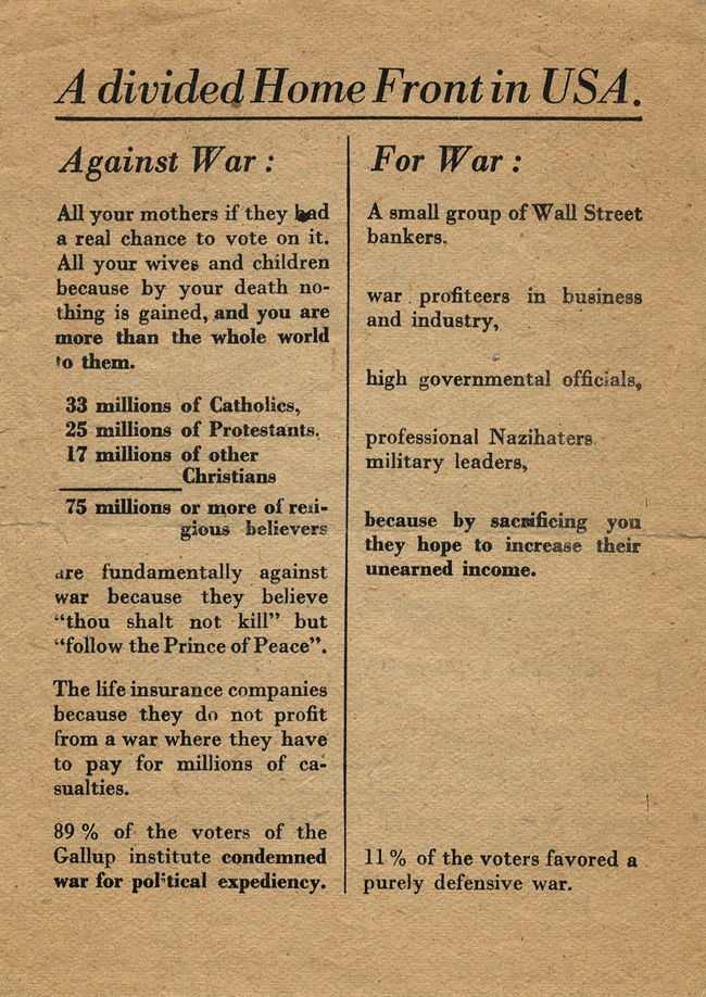 Random PSYOP leaflet - The communists are theoretically against war but…