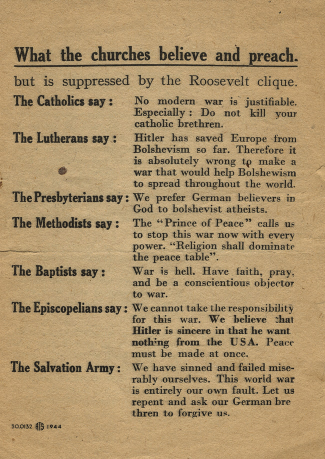 Random PSYOP leaflet - but is suppressed by the Roosevelt clique