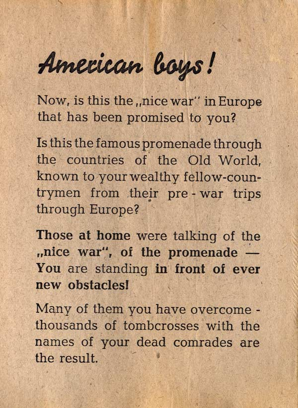Random PSYOP leaflet - American Boys! Now, is this the