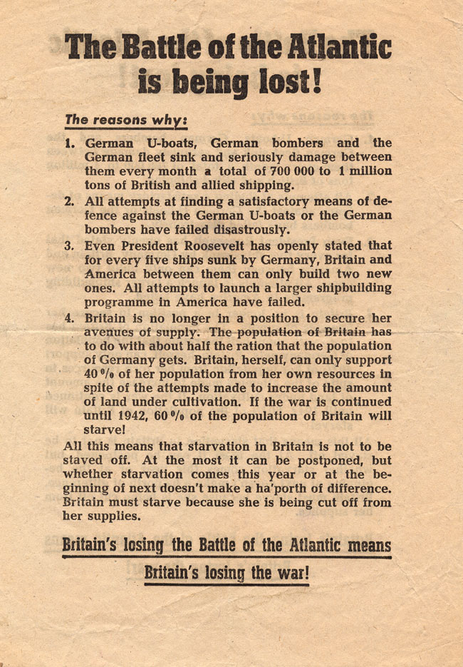 Random PSYOP leaflet - The Battle of the Atlantic is being lost!