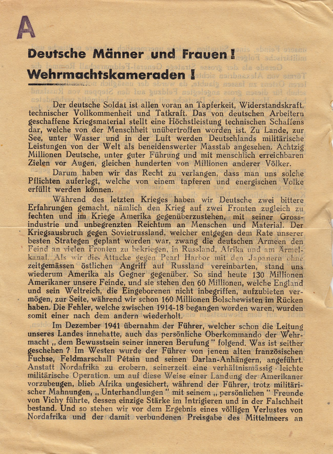 Random PSYOP leaflet - German men and women! Wehrmacht comrades! The German soldier is at the forefront of bravery…