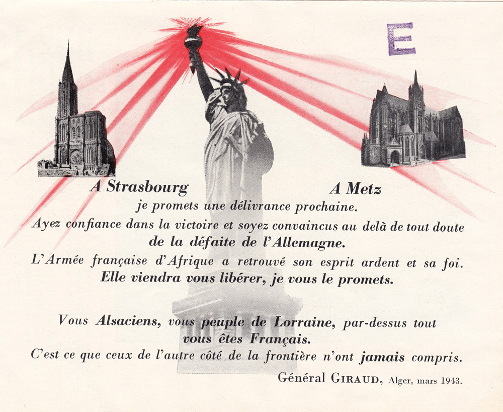 Random PSYOP leaflet - For Strasbourg and for Metz: I promise an imminent liberation
