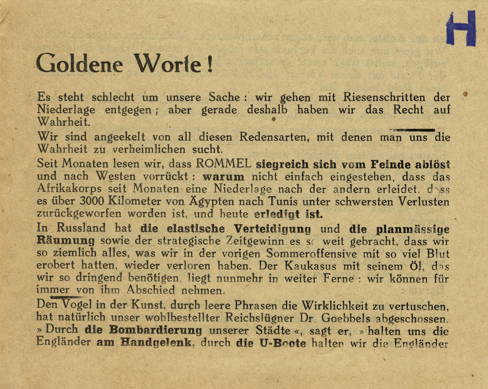 Random PSYOP leaflet - Golden words! It is bad for our cause: