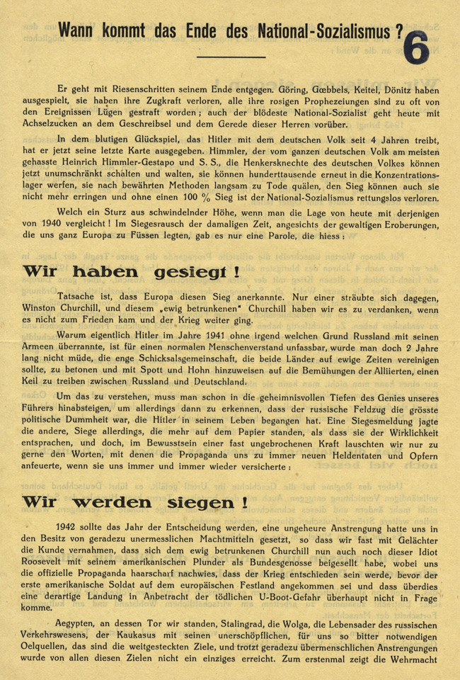 Random PSYOP leaflet - When will the end of National-Socialism come?