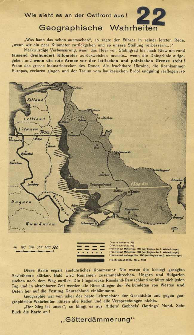 Random PSYOP leaflet - How does it look on the Eastern Front! Geographic truths
