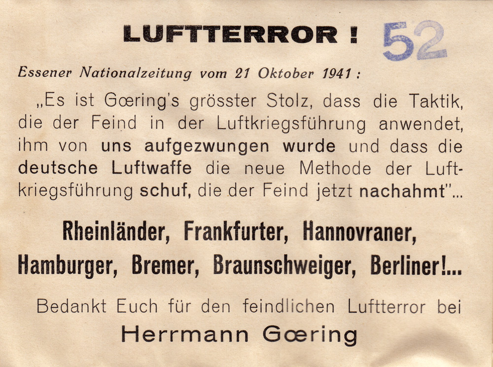Random PSYOP leaflet - AIR TERROR! Essener Nationalzeitung of 21 October 1941: