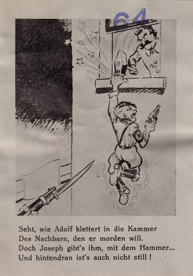 Random PSYOP leaflet - Look, how Adolf is climbing up to the chamber…