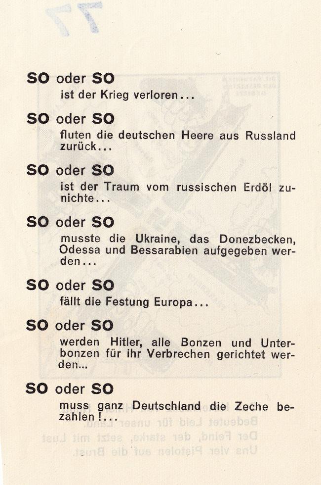 Psywar Leaflet Archive 77 Das Hakenkreuz Von Hitlers Hand