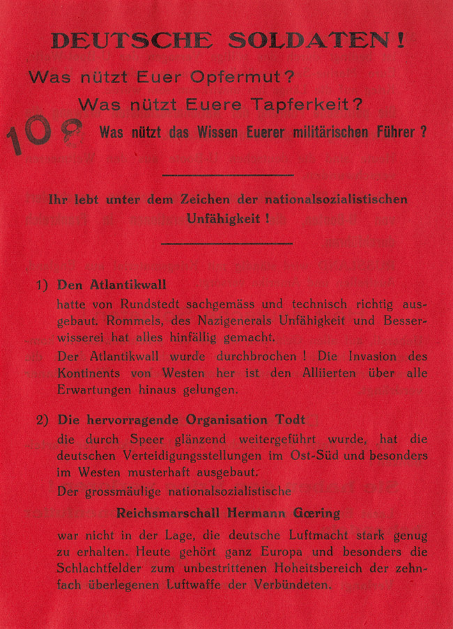 Random PSYOP leaflet - GERMAN SOLDIERS! What's the use of your self-sacrifice?