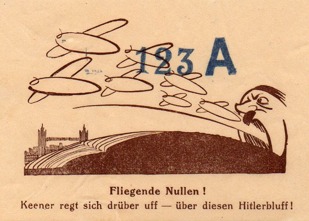 Random PSYOP leaflet - Flying Nothing!  No-one really gets worked up - About this little Hitler bluff!