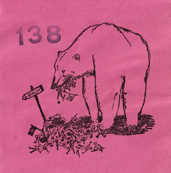 Random PSYOP leaflet - Cartoon sticker of bear eating SS soldiers