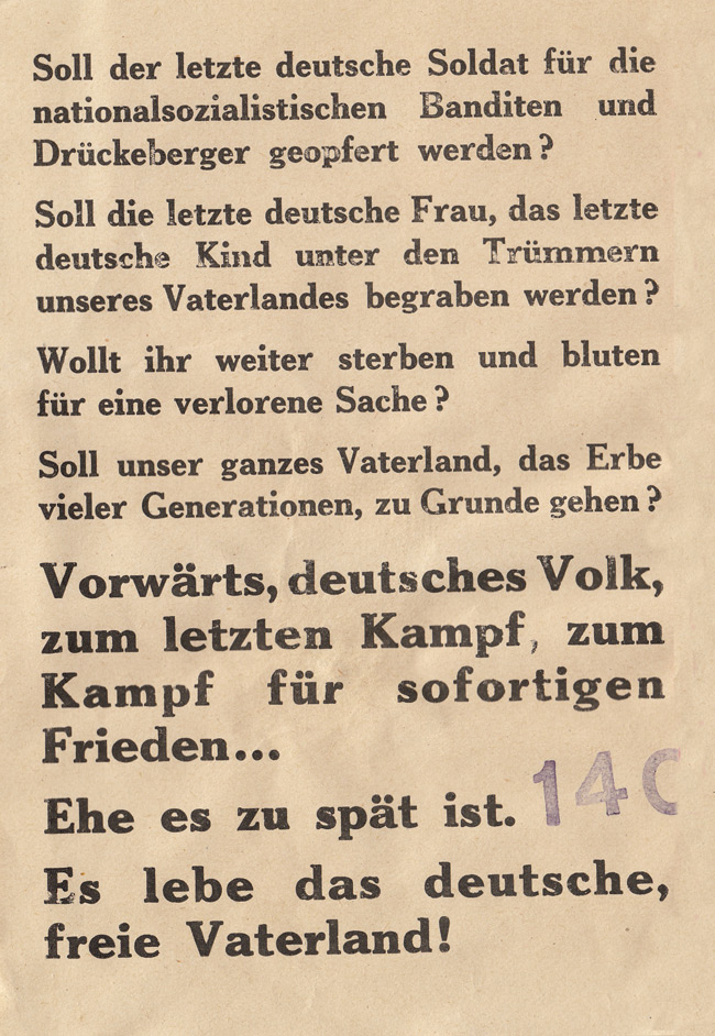 Random PSYOP leaflet - Must the last German soldier be sacrificed for the Nazi bandits and slackers?
