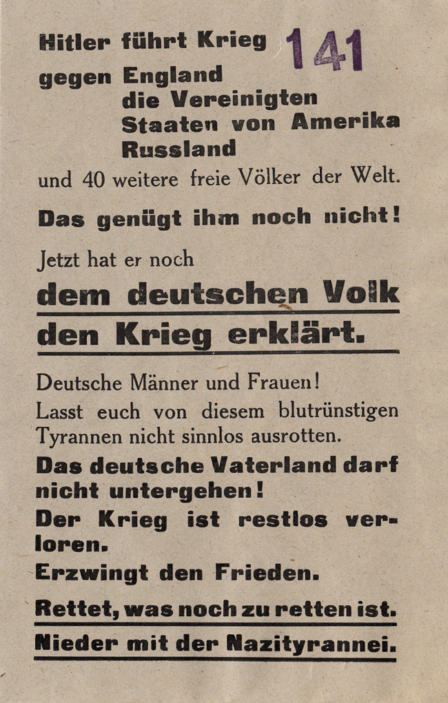 Random PSYOP leaflet - Hitler conducts war against England, the United States of America…