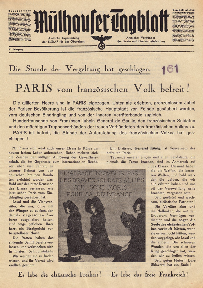 Random PSYOP leaflet - Mülhauser Daily, Volume 61 - The hour of revenge has come