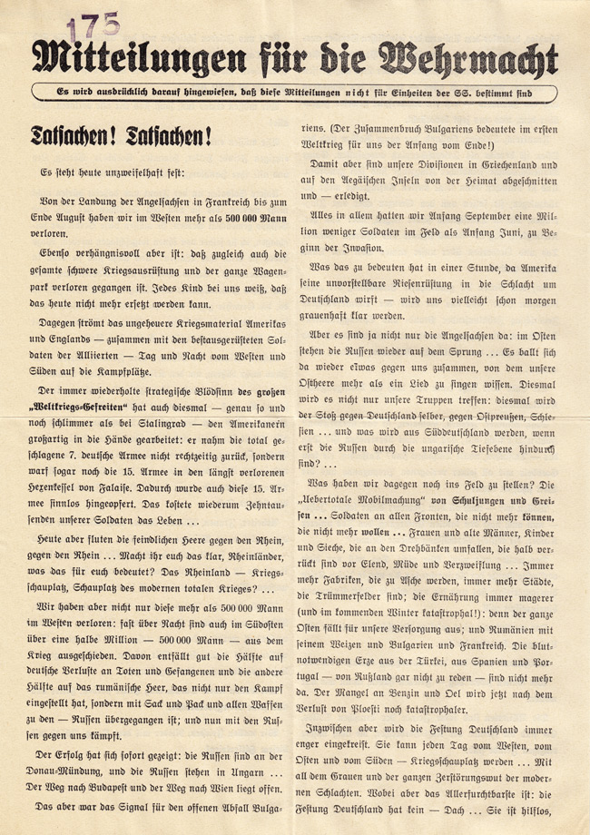 Random PSYOP leaflet - News for the Wehrmacht, Facts! Facts! - It is expressly indicated that this news is not intended for SS units