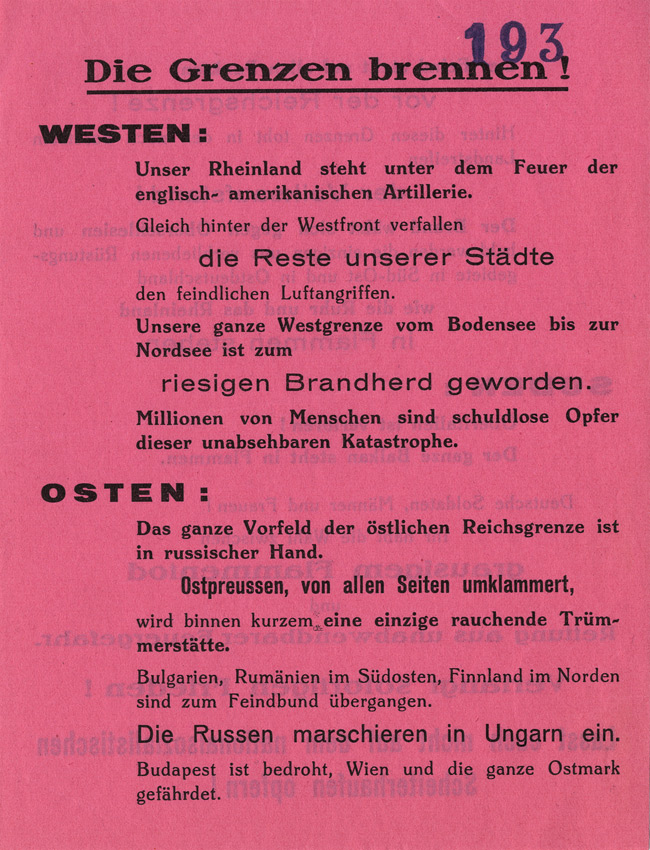 Random PSYOP leaflet - The borders are burning! In the WEST: Our Rhineland is under fire…