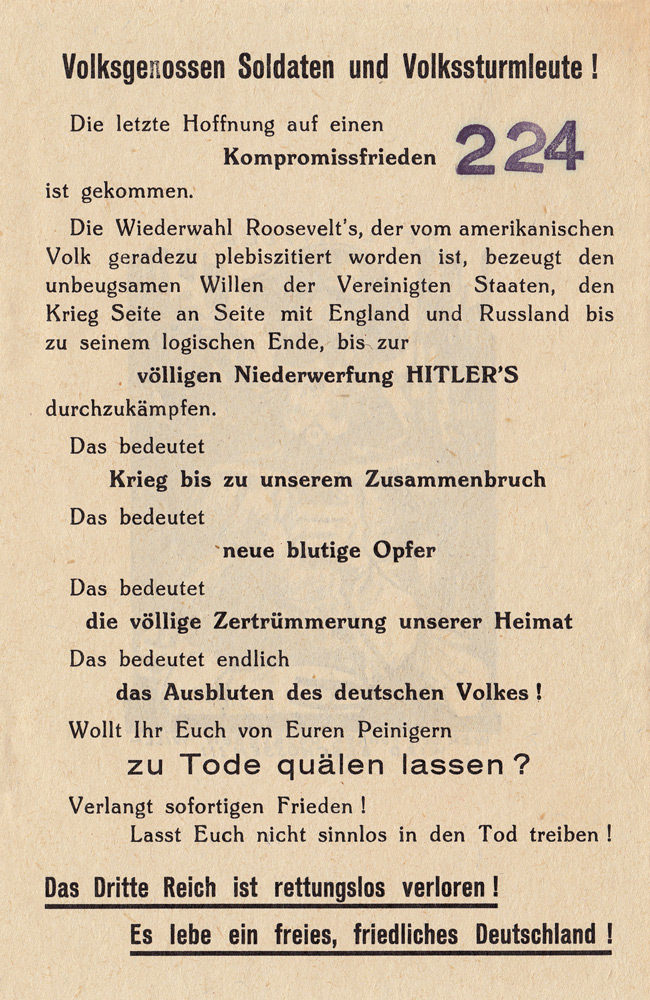 Random PSYOP leaflet - Fellow Germans, soldiers and men of the Volkssturm! The last hope for a compromise peace…