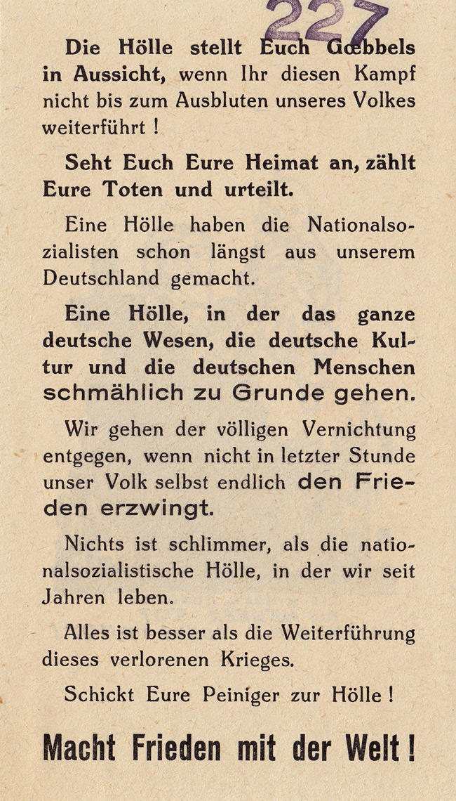 Random PSYOP leaflet - Goebbels threatens you with hell…