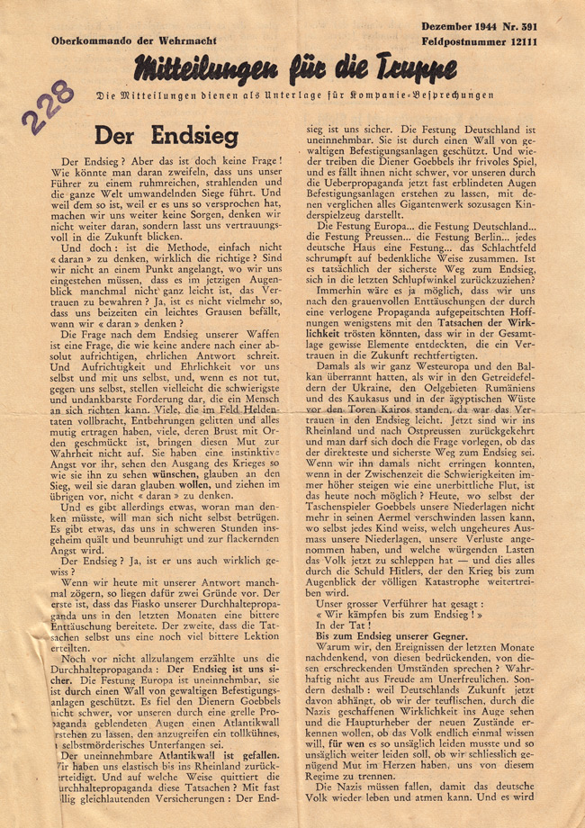 Random PSYOP leaflet - News for the Troops, December 1944, No.391 - Final victory