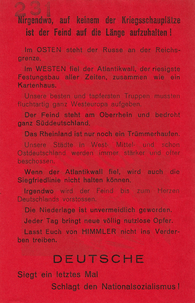 Random PSYOP leaflet - Nowhere, not in any theatre of war, can you stop the enemy!