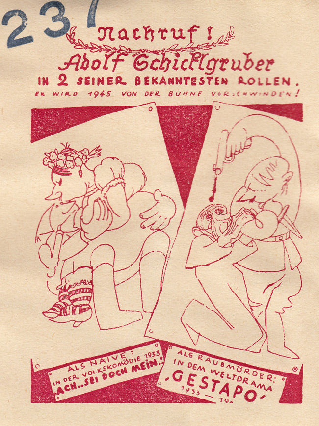 Random PSYOP leaflet - Obituary! Adolf Schicklgruber in two of his most famous roles