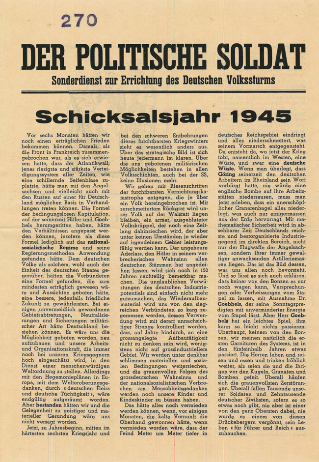 Random PSYOP leaflet - THE POLITICAL SOLDIER. Special service for the establishment of the German Volkssturm. Fateful year 1945