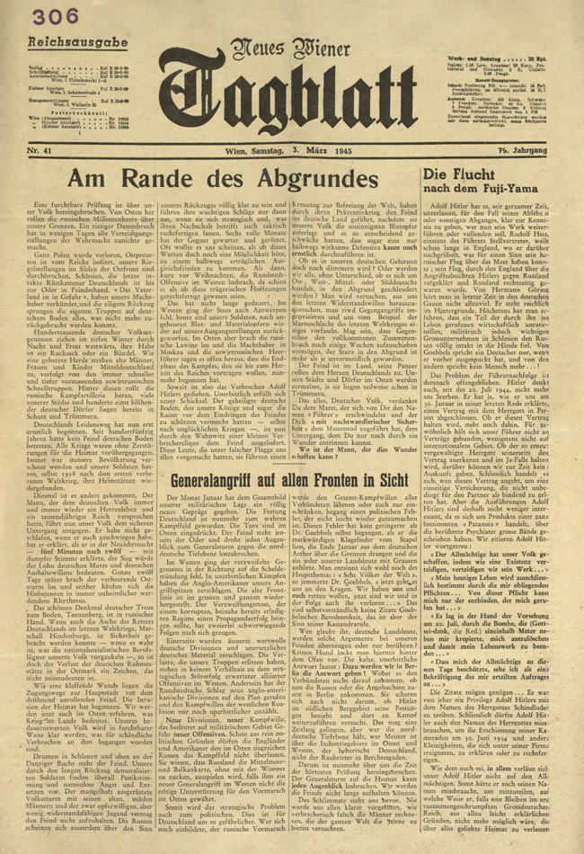 Random PSYOP leaflet - New Vienna Daily, No. 41, Vienna, Saturday 3 March 1945, Vol. 79 - Near the abyss