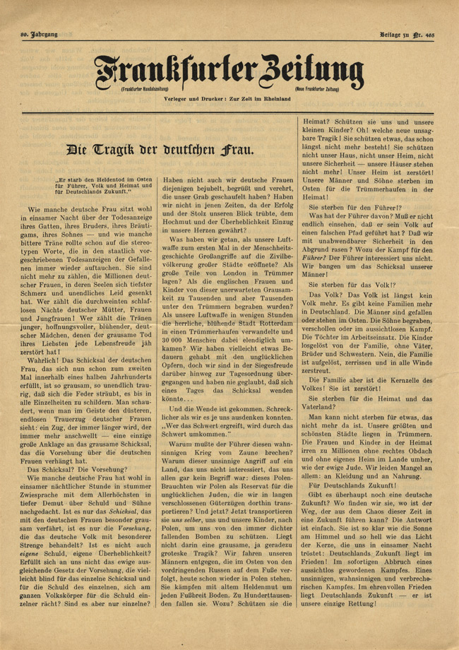 Random PSYOP leaflet - Frankfurter Zeitung, No. 465, Vol. 89 - The tragedy of the German woman