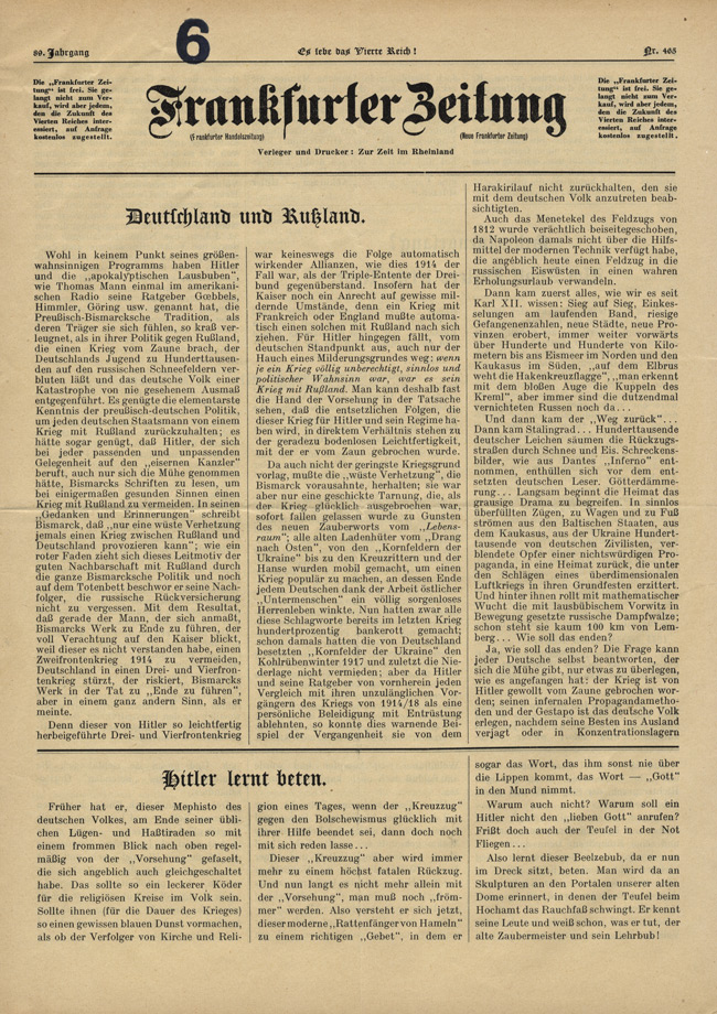 Random PSYOP leaflet - Frankfurter Zeitung, No. 465, Vol. 89 - Germany and Russia